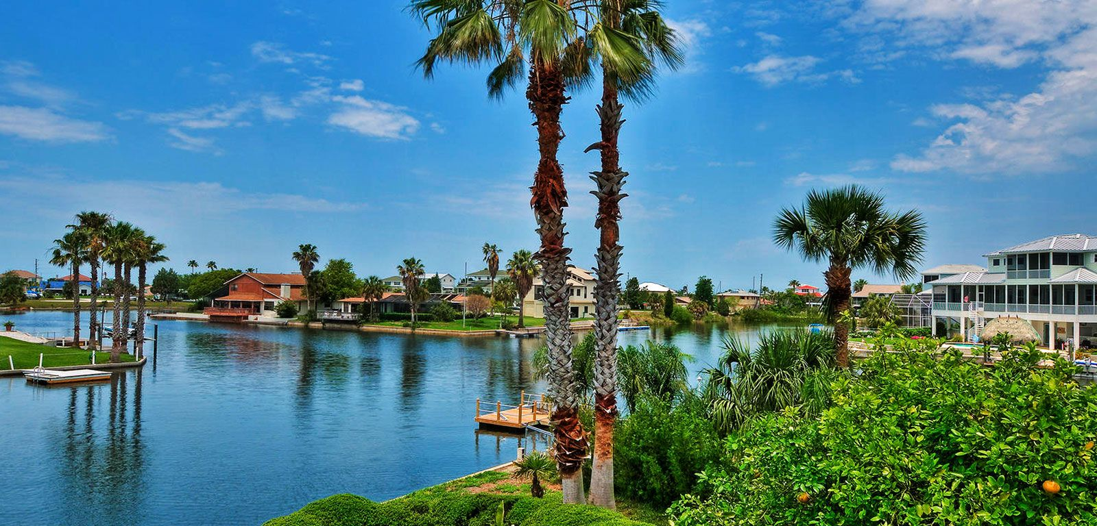 Houses on lakeside with palm trees