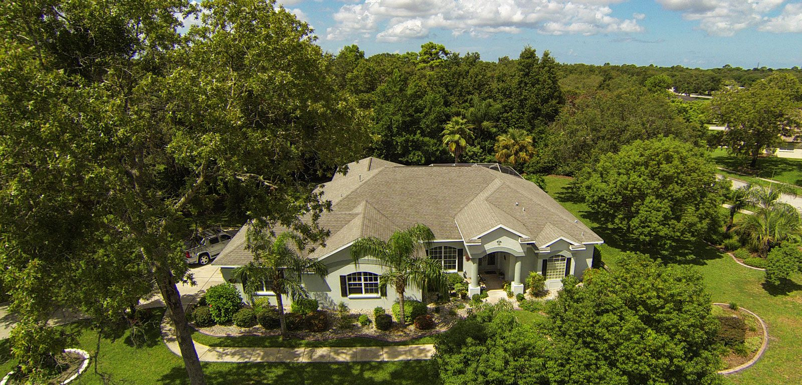 Aerial photo of a luxury house in the middle of green trees