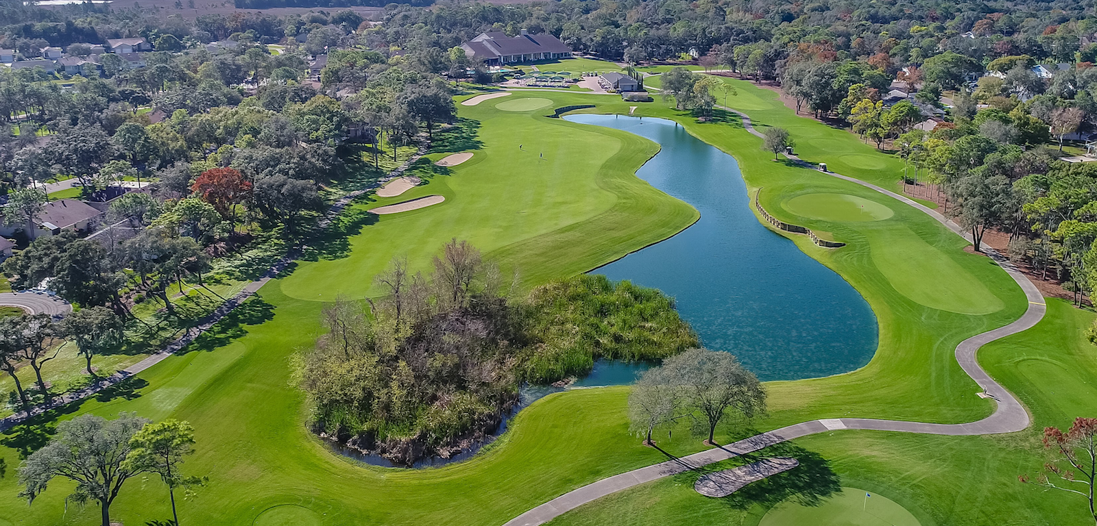 Golfing - aerial view of golf course