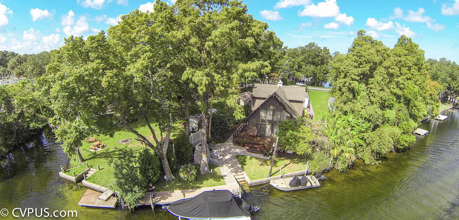 Weeki Wachee lakefront house aerial photo