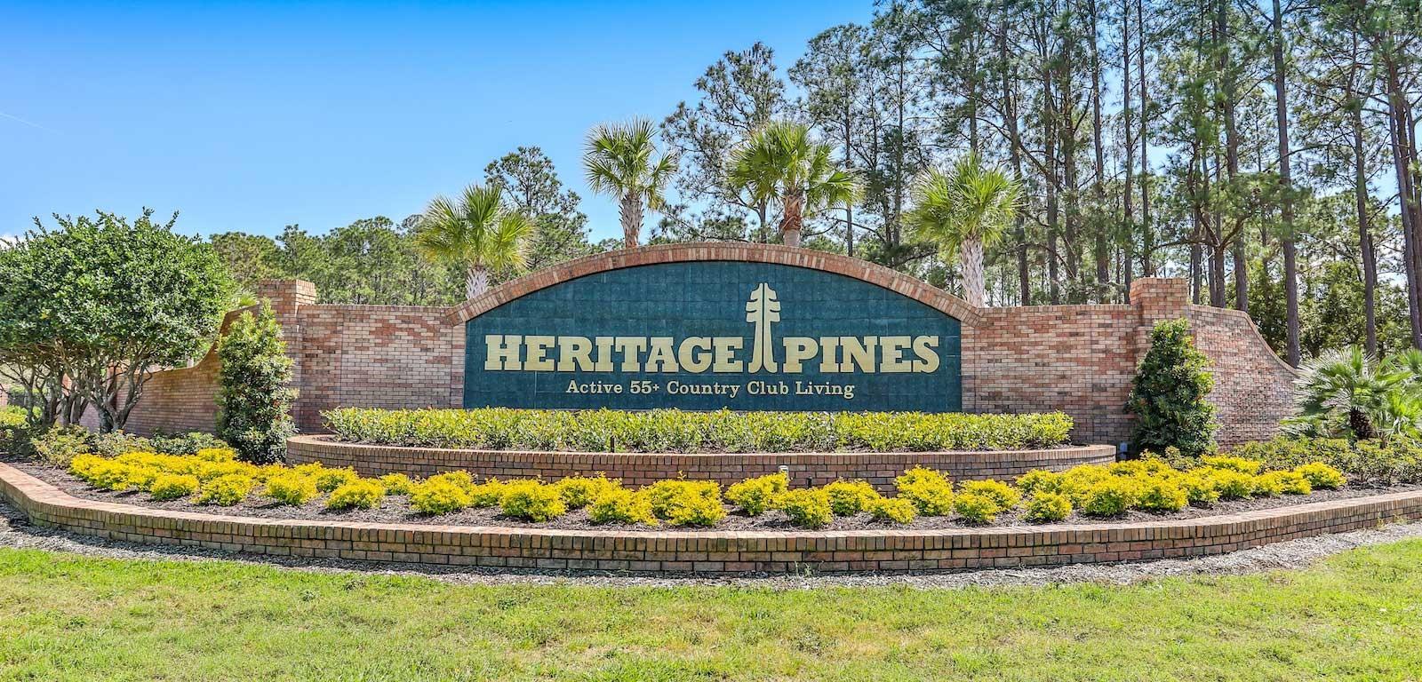 Heritage Pines neighborhood welcome sign